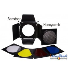 BD23 - Barndoor including 4 colour filters & honeycomb – fits on reflectors from ø18 to ø23cm - illuStar