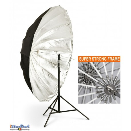 URD-P140TS - Umbrella ø140cm - Nylon (POM) frame - Transparent (diffuse) and removable cover Silver/Black