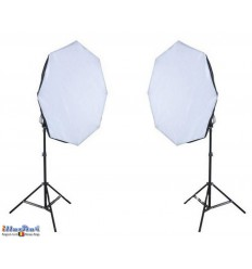 SET FL8SBO - Studiokit (1440W 23040 lm) 2x lamp with softbox ø65cm, 8x 36W Daylight fluorecent lamp, 2x light stand 190cm