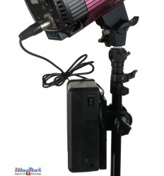 Portable power supply for LED lighting, with V-Mount battery 162 Wh, battery holder, charger with 4-pin XLR plug