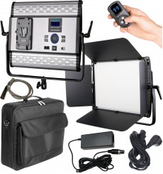 LEDP100PRODMX - Eclairage LED de studio Video & Photo 100W + 100W Bi-Couleur, DMX-512, Support de bat. V-Mount, DC 13V-19V