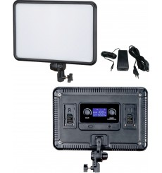 LEDP60 - Eclairage LED de studio Video & Photo 60W + 60W Bi-Couleur, Support de batteries 2x NP-F750/960, DC 13V-17V - illuStar
