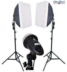 SET FM120 - 2x FM-120 adjustable 120/60Ws, 34 leds modelling lamp, 2x stands 180cm, 2x Softbox 50x50cm