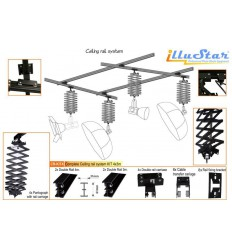CR-KIT4 - Plafond Rail Systeem KIT 4m*3m (2x rail 4m, 2x rail 3m, 4x pantograaf + railwagen)