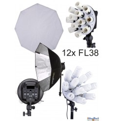 CL-12FL-SBO - Studio Lamp (2280W) with 12x 38W fluorecent E27 lamps, Softbox octogonal ø80 cm, 4 step power control