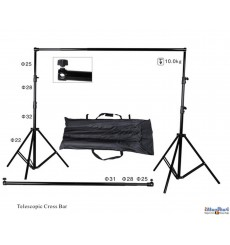 BS-320 - Background support Kit- wide 310cm  (telescopic) - height 270~100cm (2x stand, crossbar, carry bag)