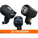 SET-FS-200DR - 2x FS-200DR digital and stepless 200~6 Ws, 100W halogen, 2x stands 195cm, 2x Softbox 50x70cm, 1x RT-604T