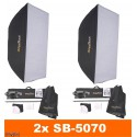 SET-FS-300DR - 2x FS-300DR digital and stepless 300~9 Ws, 100W halogen, 2x stands 195cm, 2x Softbox 50x70cm, 1x RT-604T