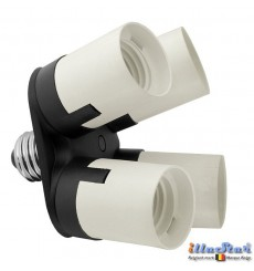 Adapter AD14E27 van 1x E27 lamp naar 4x E27 lampen - illuStar
