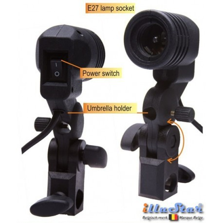 LH-27U - Swivel Lamp Holder with umbrella holder for use with E27 lamp or slave flash