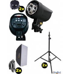 SET FS200D - 2x FS-200D digital and stepless 200~6 Ws, 100W halogen, 2x stands 195cm, 2x Softbox 50x70cm - illuStar