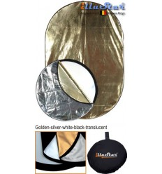 RRK91122 - 91×122cm 5in1 oval collapsible reflector, (White / Black / Gold / Silver / White Translucent) - illuStar