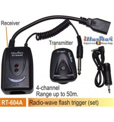 RT604A - Radio wave Flash Trigger set (Receiver 220V AC + Transmitter) 4-channels - illuStar