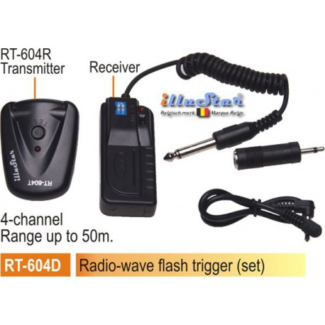 RT-604D - Radio wave Flash Trigger set - Receiver (2xAAA 1.5V battery not included)  + Transmitter - 4-channels