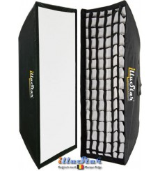 SB-35160HC-A144 - Softbox 2in1 - 35x160cm with Diffuser & Honeycomb Grid - 360° rotating - foldable - carry bag