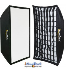 SB90122HCA144 - Softbox 2in1 - 90x122cm met Diffusor & Honingraatrooster, 360° draaibaar, Opvouwbaar, inclusief tas - illuStar