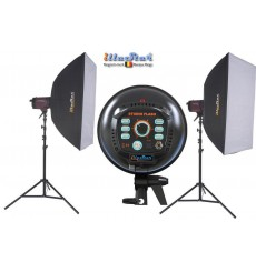 SET FI300A - 2x FI-300A stepless 300~9 Ws (Joule) E27 150W halogen, 2x stands 250cm, 2x Softbox 60x90cm - illuStar