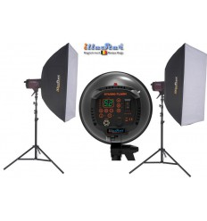 SET FI800D - 2x FI-800D digital and stepless 800~25 Ws (Joule) E27 250W halogen, 2x stands 250cm, 2x Softbox 80x120cm