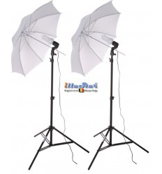 SET FLT238 - Studio Kit (6000 lm) 2x 38W Daylight Fluorecent lamp, 2x light stand 190cm, 2x Umbrella Transparent ø84cm
