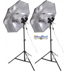 SET FLT4105 - Studio Kit (33600 lm) 4x 105W Daylight Fluorecent lamp, 2x light stand 190cm, 2x Umbrella Silver ø84cm - illuStar