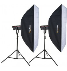 SET QPRO1200I - 2x QUANT-1200-PRO digital and stepless variable 1200~37 Ws (Joule), 2x stands 250cm, 2x Softbox 80x120cm - elfo