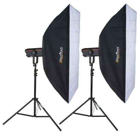 SET-Q-PRO1200-I - 2x QUANT-1200-PRO digital and stepless variable 1200~37 Ws (Joule), 2x stands 250cm, 2x Softbox 80x120cm