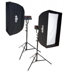 SET QPRO600 - 2x QUANT-600-PRO Digital and stepless variable 600~18 Ws (Joule), 2x 2m50 stands, softbox 50x90cm & 60x130cm - elfo