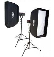 SET QPRO600 - 2x QUANT-600-PRO Digital and stepless variable 600~18 Ws (Joule), 2x 2m50 stands, softbox 50x90cm & 60x130cm
