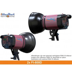 SET FI800D - 2x FI-800D digital and stepless 800~25 Ws (Joule) E27 250W halogen, 2x stands 250cm, 2x Softbox 80x120cm - illuStar